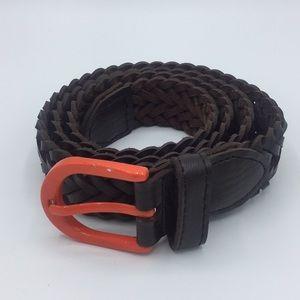 Other - Genuine leather braided belt w/ orange buckle